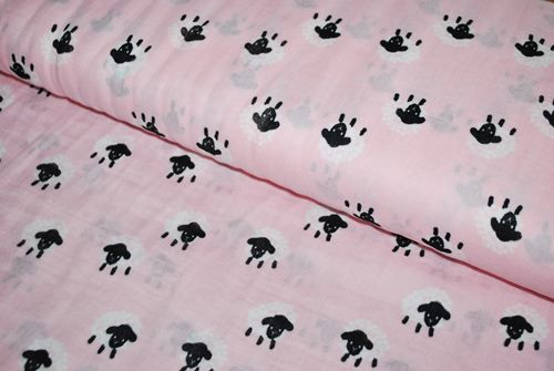 Double gaze coton rose moutons - par 1 m