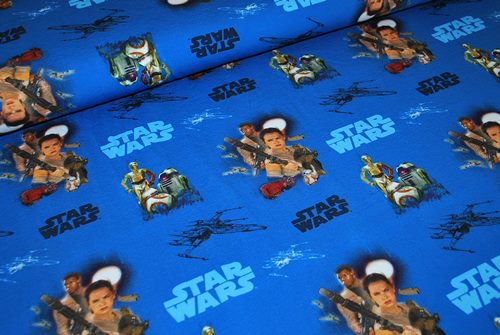 Jersey digital oko tex Star Wars fond bleu - par 50 cm